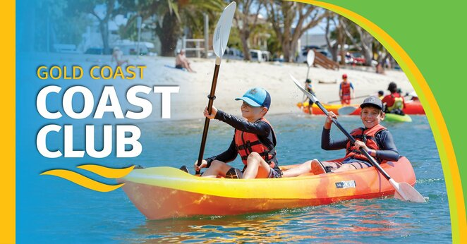 Coast Club Gold Coast, September school holidays, healthy outdoor activities, whole family, Tallebudgera Leisure Centre, age 8 and older, morning and full day sessions, stand up paddle boarding, giant swing, bodyboarding, canoeing, surfing, high ropes, kayaking, vertical climbing, abseiling and quick flights, team rescue, archery, hats, sunscreen, water bottle, enclosed shoes, registering essential, indoor rock climbing, swimming pool open, dare-devil adventures, whole family, more green time, less screen time