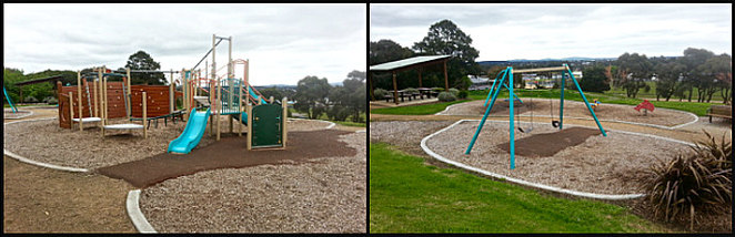 Elliminyt Recreation Reserve, Colac, Playgrounds in Colac, public BBQ, tennis court, park, pswings, swingset, bouncer, basket swing,