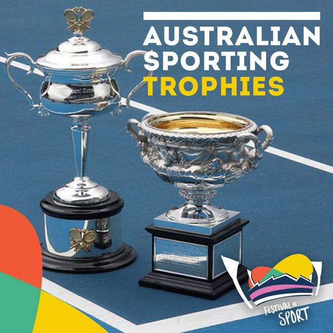 Festival of Sport, Geelong, 2018, Free, school holidays, bellarine, kardinia park, GMHBA stadium, geelong stadium, mik maks, sport, free activities, trophy, photo with a trophy,