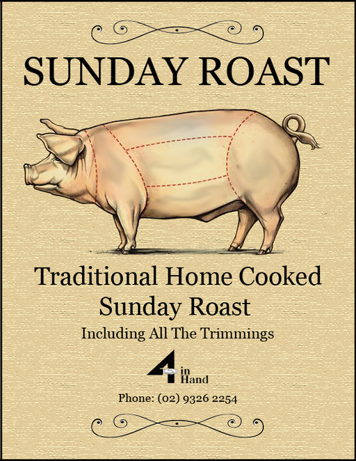 four in hand, sunday roasts in sydney, colin fassnidge