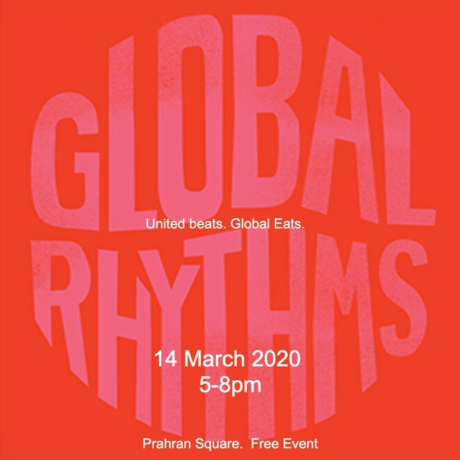 global rhythms 2020, community event, fun things to do, prahran square, what's on stonnington, entertainment, live music, musicians, activities, one day free music event, beat makers, summer music fesival circuit, kira puru, hip hop, remi, alphamama, dj sojugang, concert goers, music lovers, eateries, food and beverages, united beats, global eats