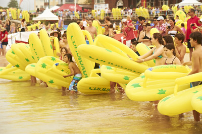 Grab your inflatable thong and head to Mooloolaba Beach/Image from havaianaschallenge.com.au/