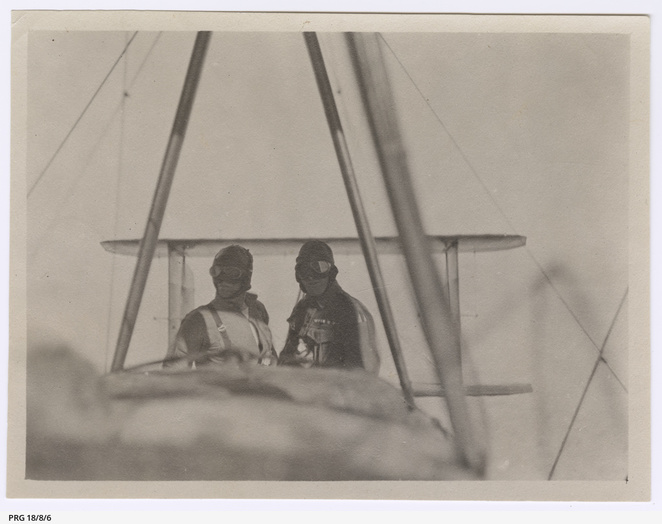 James Bennett and Walter Shiers in Vickers Vimy during flight