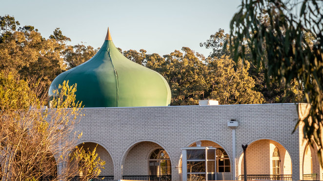 mosque, dome, Oxley, Brisbane, copper, patina, verdigris, may cross