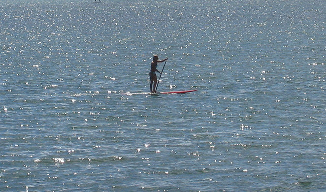 Stand up paddler off Wellington Point