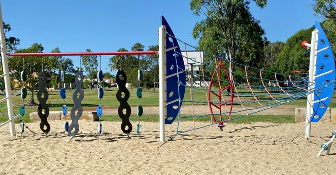 Older children can challenge themselves on this larger ropes structure