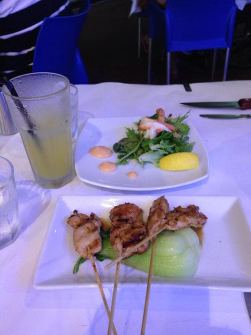 raw prawn, seafood, restaurant, cairns, culinary, chicken, skewers, bok choy, prawns, salad