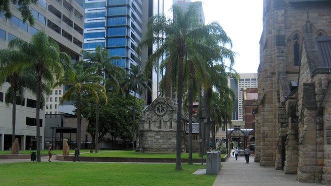 The grounds of St Stephens is a popular location for city workers to enjoy their lunch