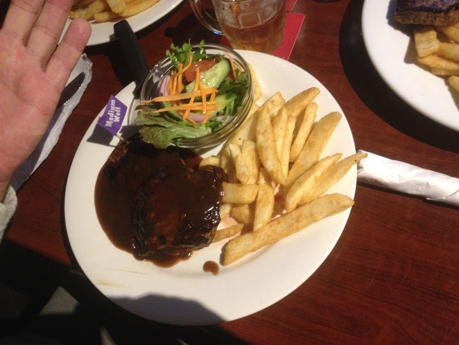 Steak, salad and chips