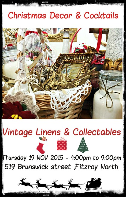 vintage linens and collectables, christmas decor, christmas hampers, cocktail party, vintage goods, jewellery, clothing, laces