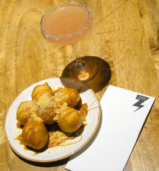 Cocktail and Loukoumades (Greek style donuts_