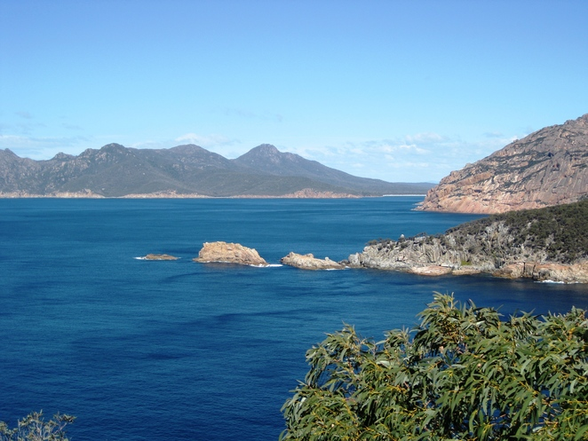 Cape Tourville, ocean, Freycinet National Park, Tasmania, beach, mountains, wilderness