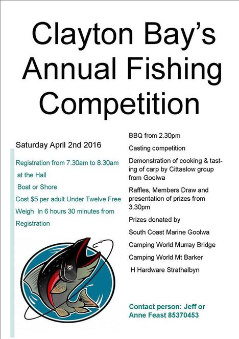 Clayton Bay Annual Fishing Competition Poster