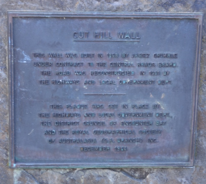 Cut Hill Wall, Victor Harbour, Memorial Plaque, Encounter Bay, heritage listed