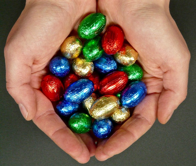 Easter eggs, hands, carry, hold, chocolate eggs,