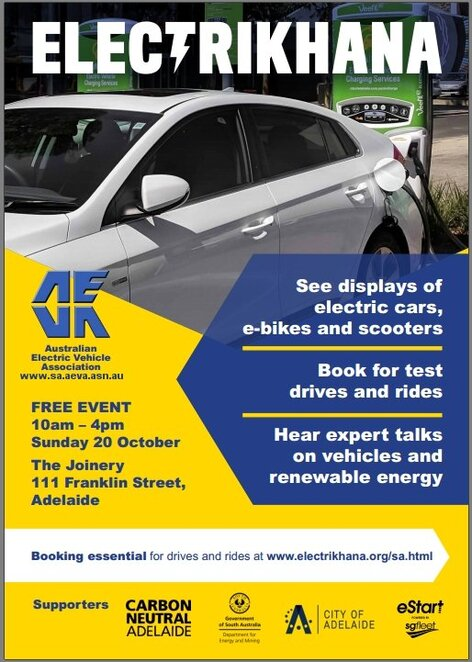 Electrikhana, electric vehicles, electric cars, free, the Joinery, Adelaide, electric, climate change, poster