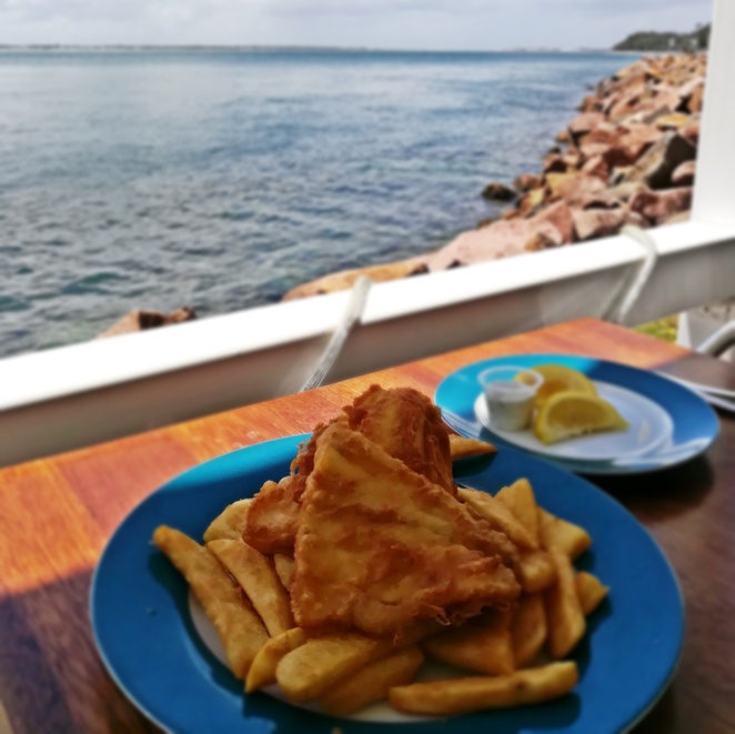 bay harbour cafe, fish and chips, nelson bay, teramby road, best fish and chips, port stephens, NSW, views, water, nelson bay breakwater, fishing spots, best seafood, winter activities, things to do in winter, kinds, seniors,
