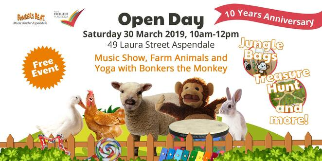 open day, bonkers beat music kinder and childcare, community event, fun things to do, aspendale, music, child care, family event, interactive tour, music show, bonkers the monkey, innovative programs, children's programs, respite for parents