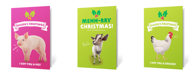 Oxfam - give a pig, goat or chicken for Christmas