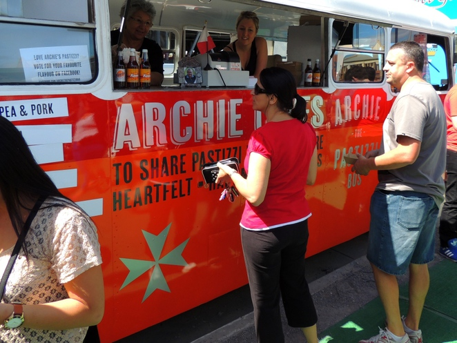 pastries, ricotta, about adelaide, pastizzi, archie the pastizzi bus, moroccan lamb, mushy peas, in adelaide, food truck, the depot