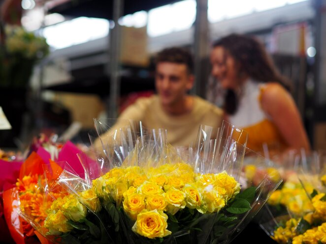 Valentine's Day at Dandenong market flowers and produce