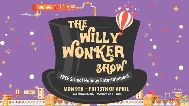 Willy Wonker FREE school holiday show, The Ginger Factory, Yandina, oompa loompa doompety doo, world of singing, world of dancing, world of chocolate, scrumdidilyumptious, two shows daily, adventure of a lifetime, chocolatiest show