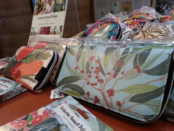 Wallets, luggage tags, coin purses at the shop.