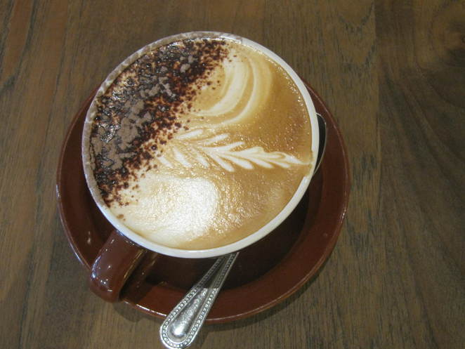 Cappuccino at Huff Bagelry