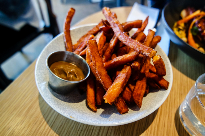 chips, fries, sweet potato, sweet potato fries, blackwood pantry, sides, aioli, fried food
