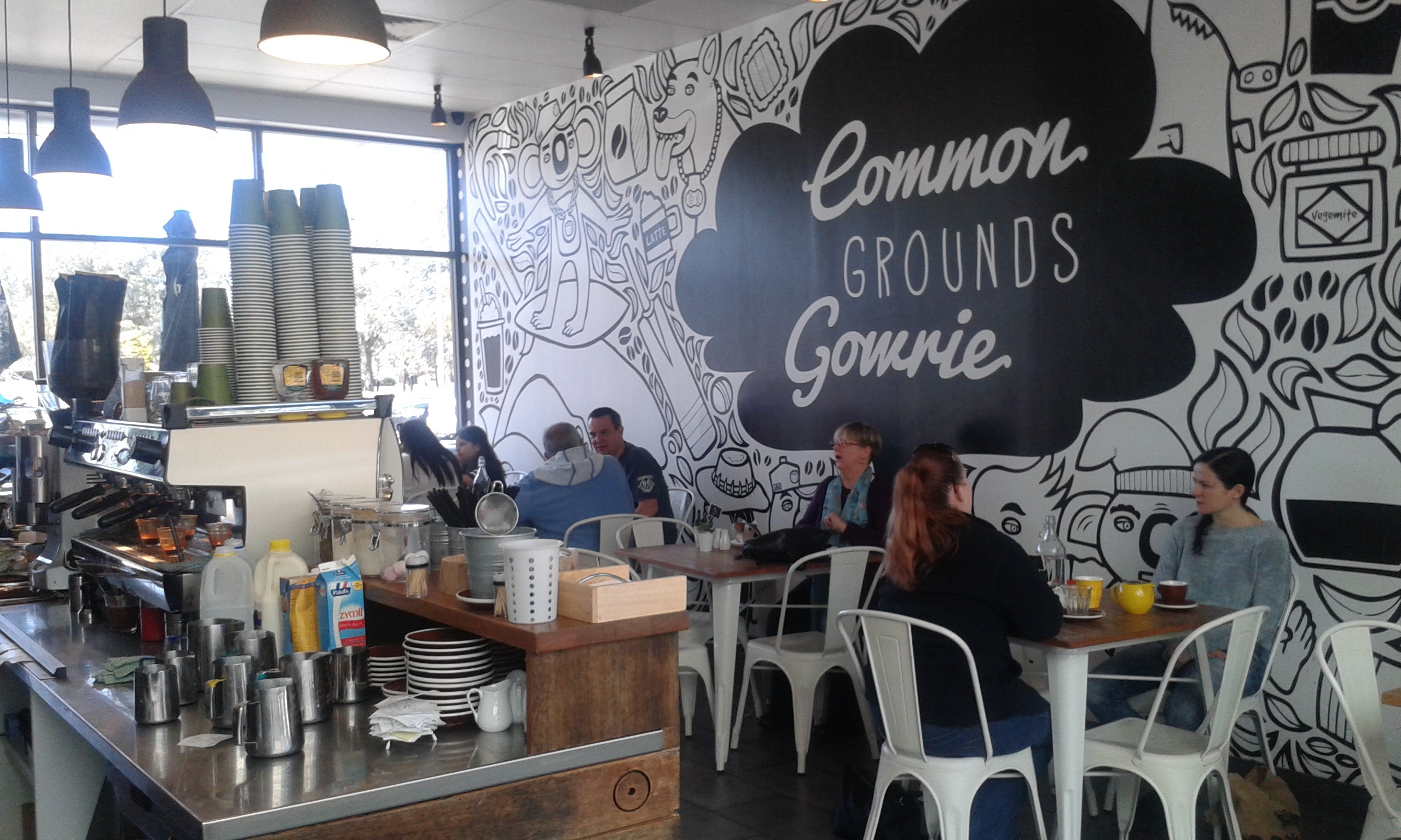 Common grounds cafe canberra for Cafe wall mural