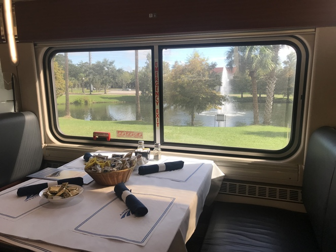 Dining car, Silver Meteor, US train travel