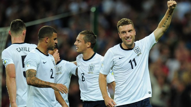 England celebrates scoring their second goal during the FIFA 2014 World Cup Qualifying Group H match