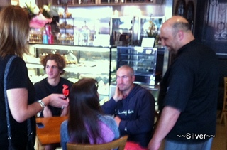 Harry chatting with patrons
