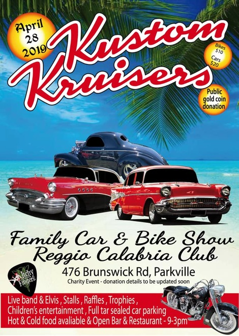 kustom kruisers classic care and bike show 2019, community event, fun things to do, reggio calabria club, parkville, free car event, melbourne classic car and bike show, charity event, fundraiser, children's activities, entertainment, show t shirts, market stalls, hot and cold food, coffee, bar and restaurant, ice cream vans, trophies, raffle prizes, live music, itchy fingers, elvis, donations, community event, fun things to do