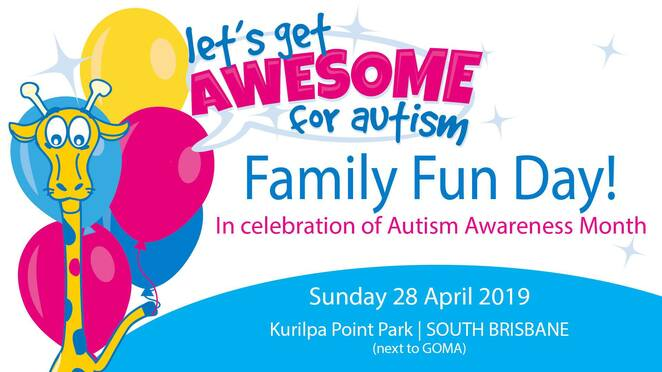 let's get awesome for autism family fun day 2019, community event, fun things to do, kurilpa point park, south brisbane, free event, aeiou, autism awareness month, family fun day, activities, ginger sport, jumping castle, face painting, food trucks, hello africa, kurilpa park , drumming, marine creatures, ocean life education, farm animals, furry friends, barnyard babies petting zoo, kids activities, entertainment