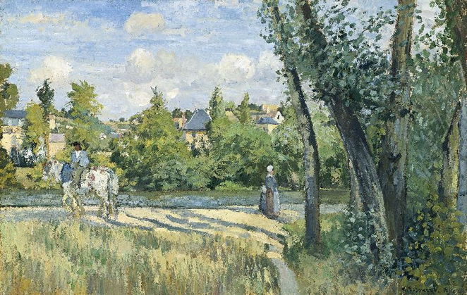 Camille Pissarro, French (born in the Danish West Indies), Sunlight on the road, Pontoise 1874 oil on canvas, 52.4 x 81.6 cm / Photo courtesy of Museum of Fine Arts, Boston