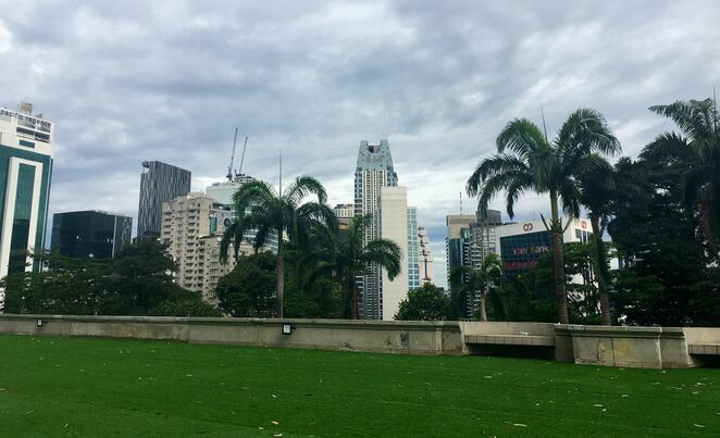picnic area,kl tower,city view,buildings