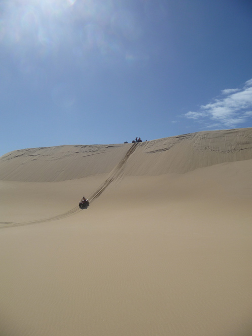 Rolling down the dune, free fall
