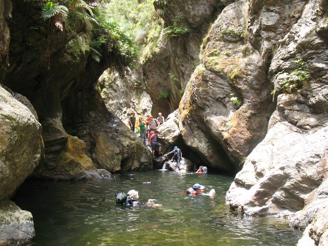 Swim through gorge