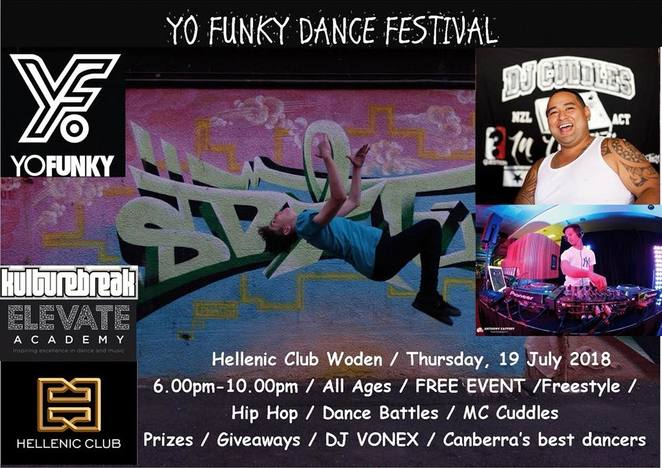 yo funky dance festival, hellenic club, dance, kulture break, school holidays, DJ Vonex, kids, family friendly, children, ACT,