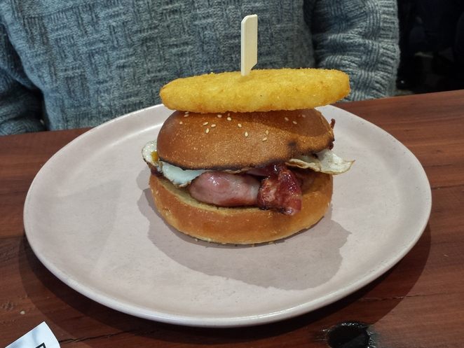 Bacon and Egg Burger Cav and Co