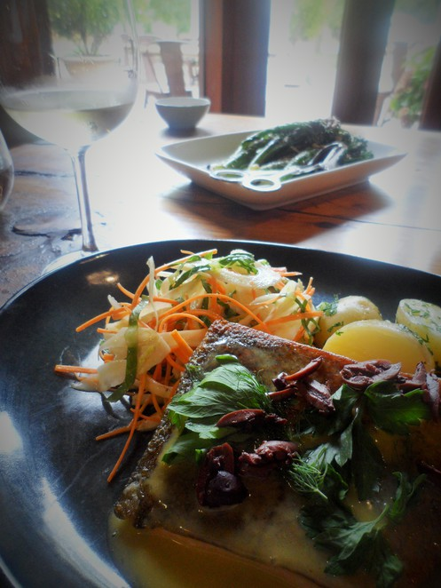 The Ocean Trout is perfect with a glass of Bendooley Estate Riesling