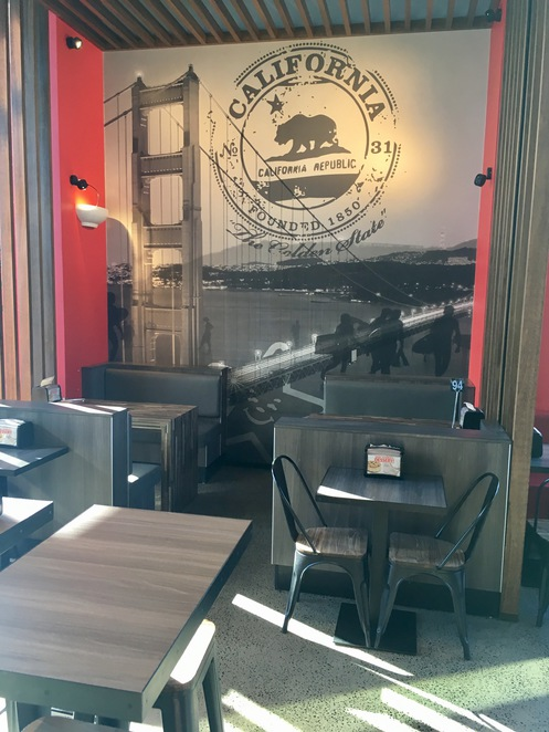 Carl's Jr. Eat-in restaurant, Bateau Bay, chargrilled burgers, tables and chairs, burger restaurant