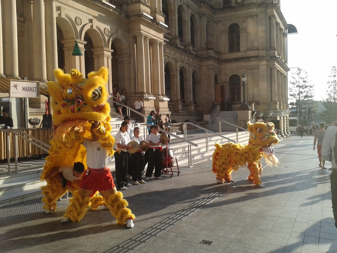 Lion dancers in Brisbane