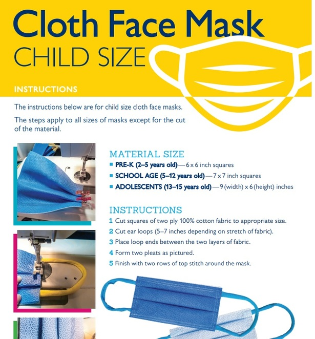 Institutes such as John Hopkins have released instructions for making children's face masks (image courtesy of John Hopkins)