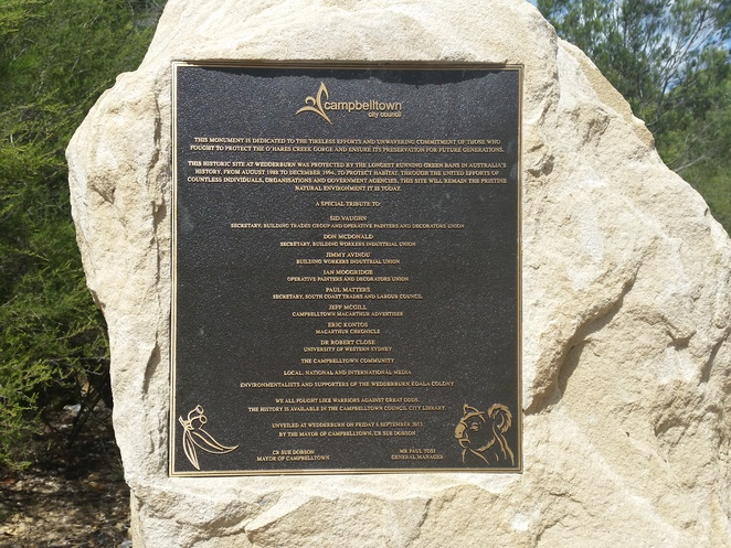 dharawal national park, memorial plaque