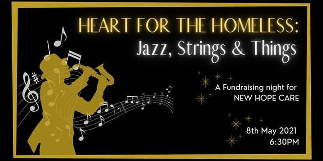 heart for the homeless, jazz strings and things, new hope care, community event, fun things to do, fundraiser for new hope care, surprises, activities, food, james condon, sdalvation army former commissioner, live and silent auction