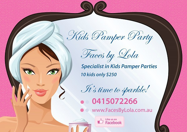 kids pamper parties, kids pamper packages, birthday party ideas, faces by lola