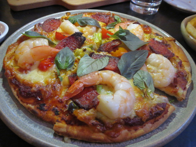 Lindes Lane, Chorizo and Prawn Pizza, Adelaide
