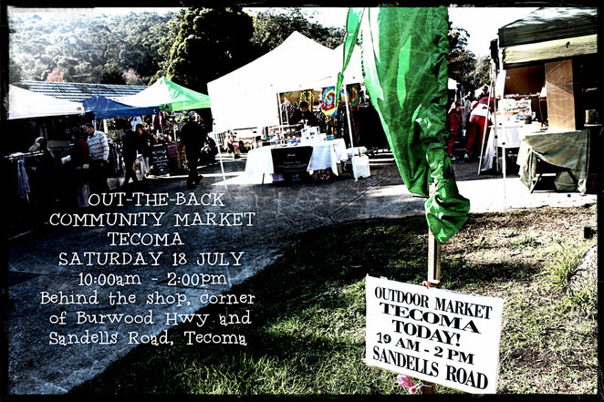 out the back market, tecoma, indie market place, tecoma traders association, craft,vintage, coffee, british cakes, jewellery, clothing, mrduk, food, shopping, market stalls, stallholders